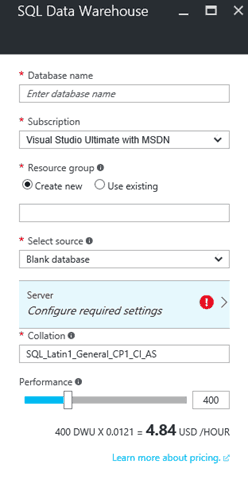 Microsoft Azure SQL w/ new default collations for Data Warehouse