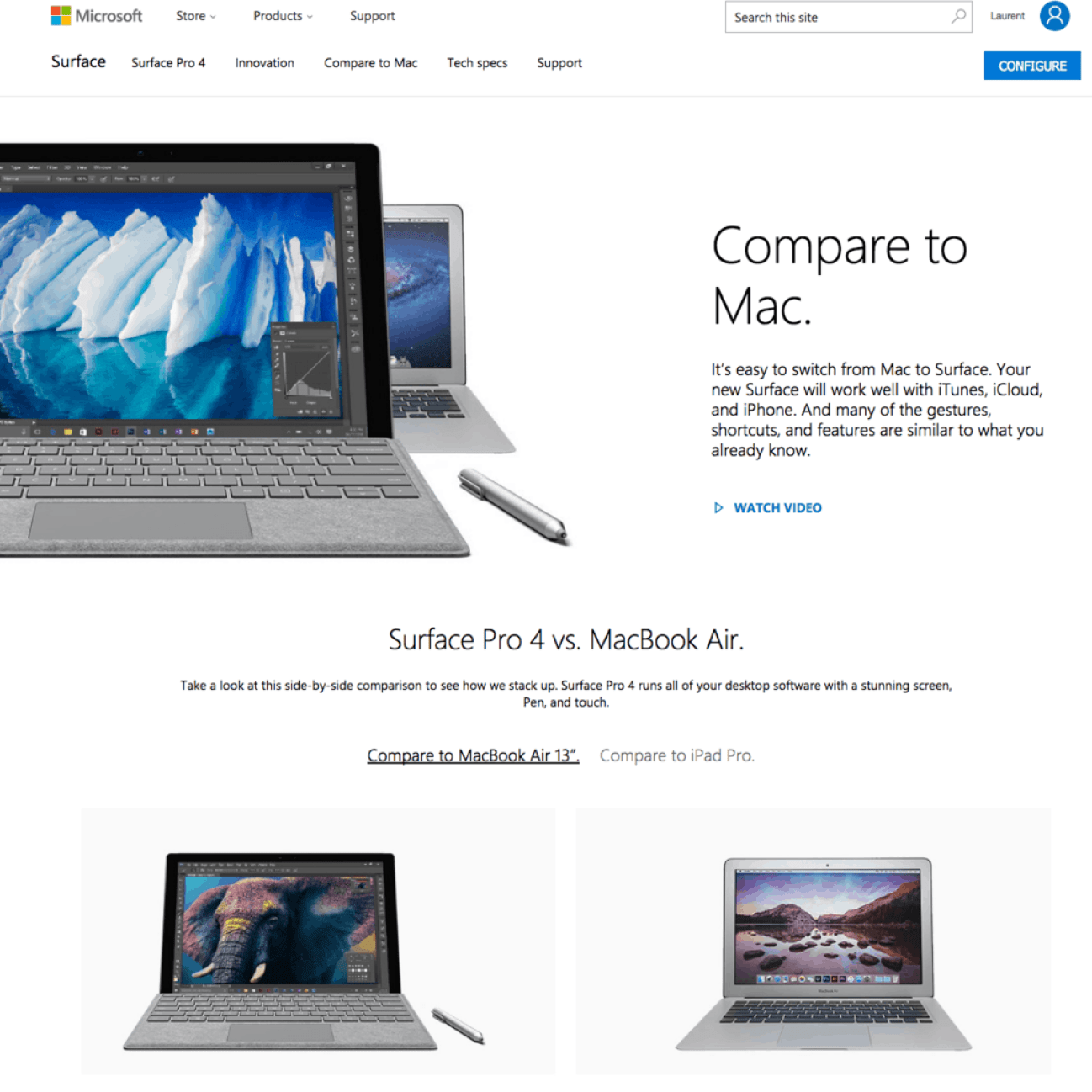 Microsoft compares its Surface hybrids against Apple Macbooks on its site.