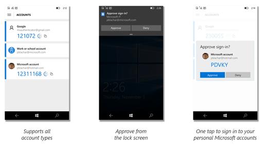 The new Microsoft Authenticator app on Windows 10 Mobile.