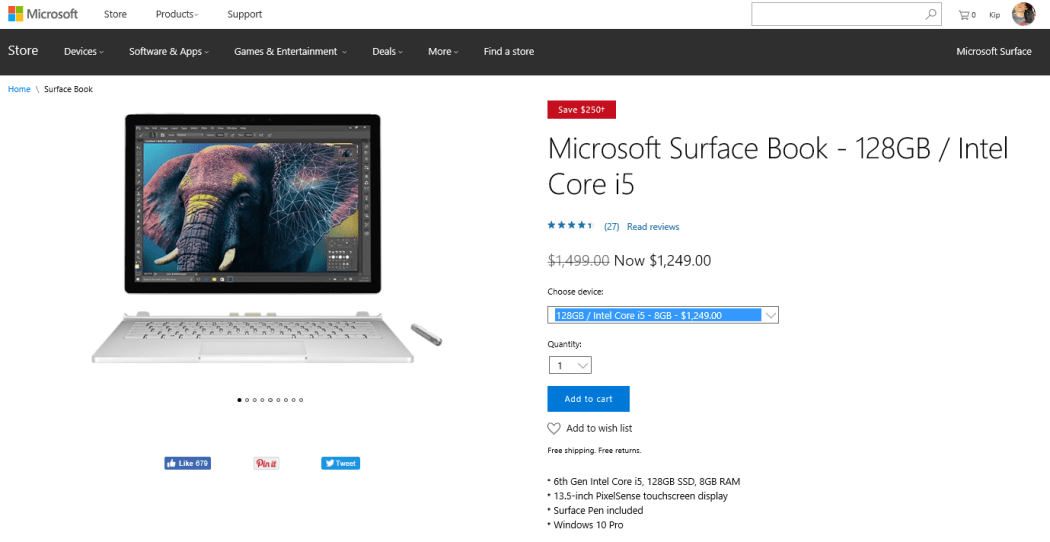 You can save $250 on the cheapest Surface Book model.