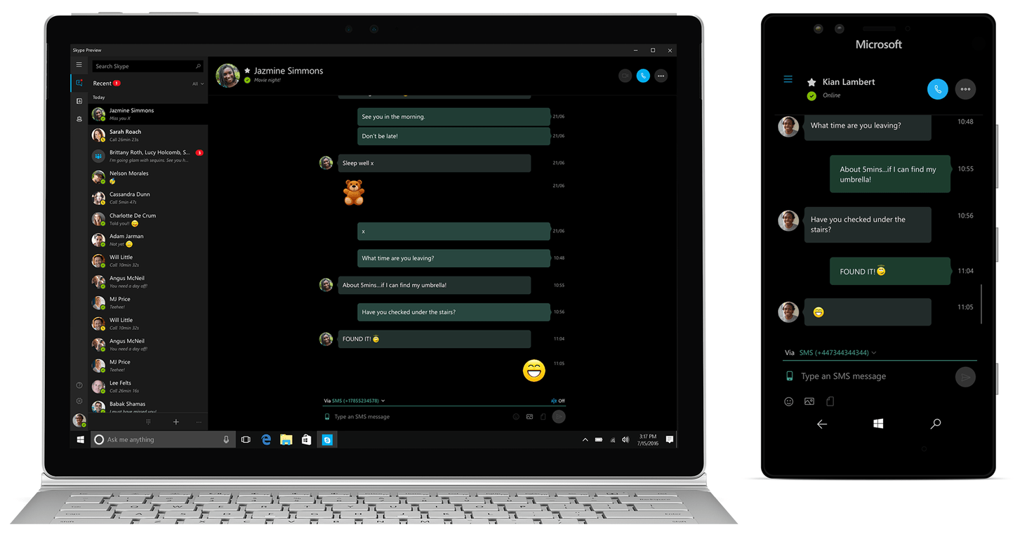 Skype Preview from Microsoft gains SMS Relay