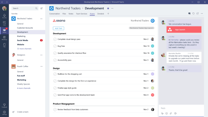 Developers can create their own branded tabs on Microsoft Teams.