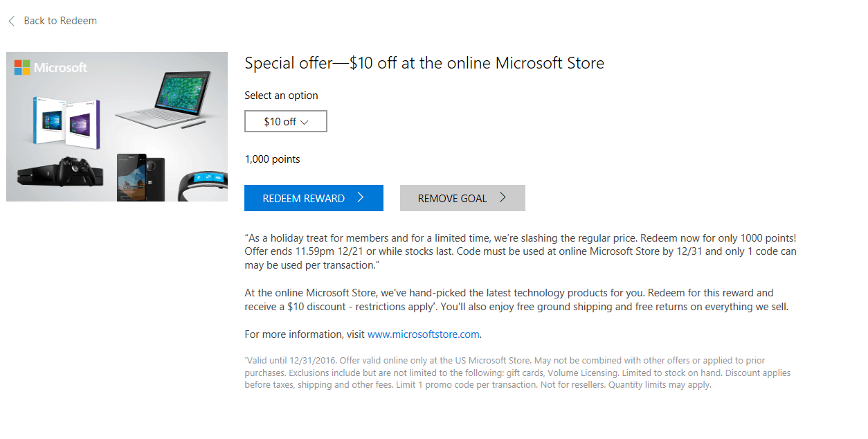"Microsoft Rewards offers a ""holiday treat"" - $10 off the ..."