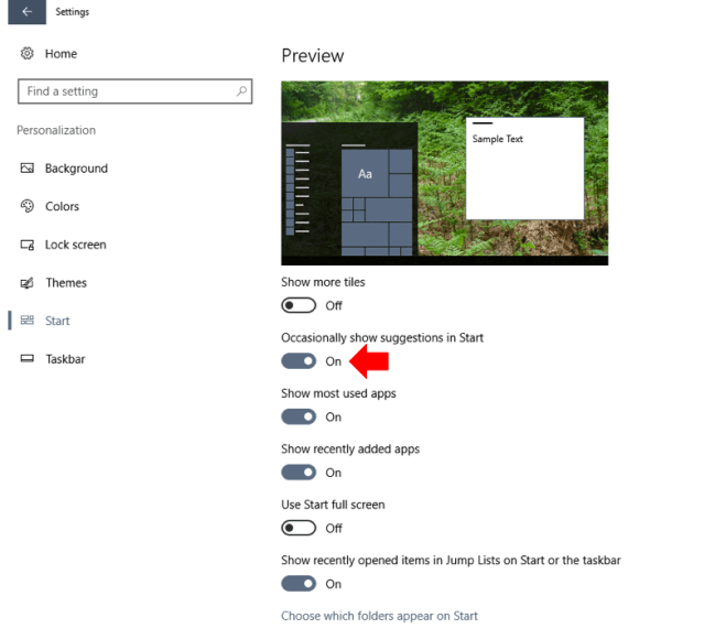Windows 10 start Menu disable app suggestions