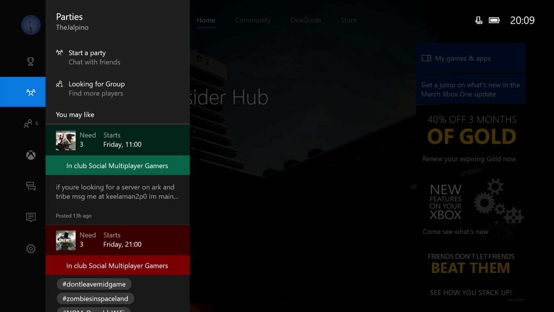 Xbox One Creators Update Guide Parties