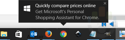 chrome Windows 10 Personal shopping assistant notification