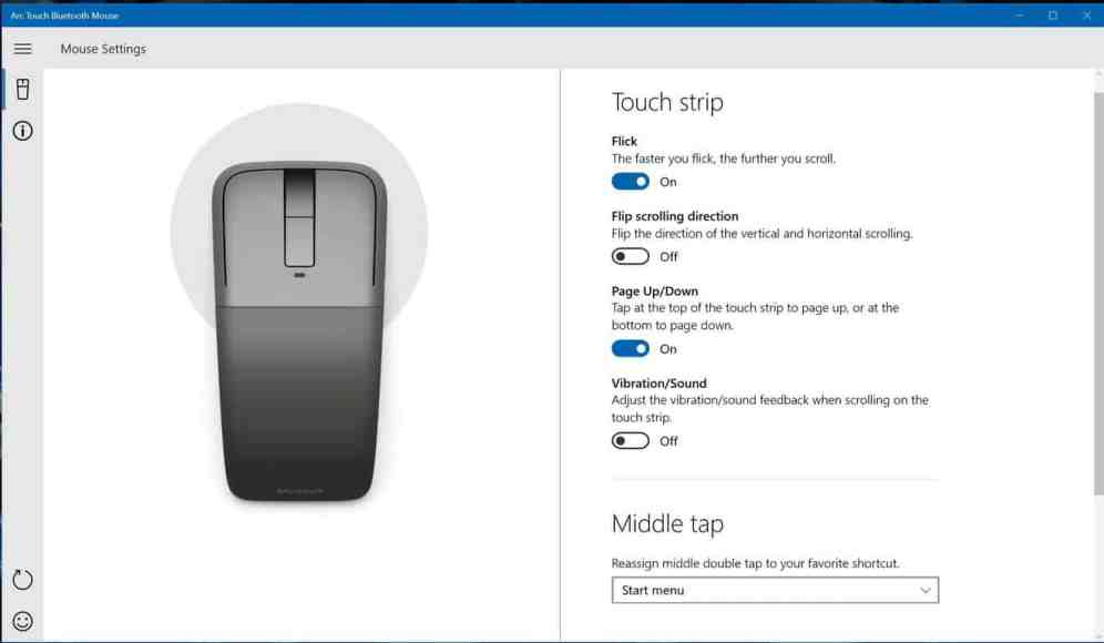 Arc Touch Mouse settings