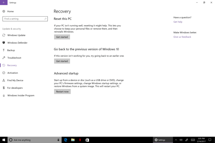 Microsoft, Windows 10, PC, Refresh, Restore