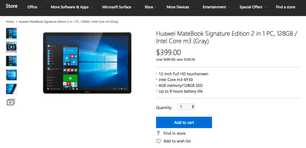 Huawei Matebook US Microsoft sTORE