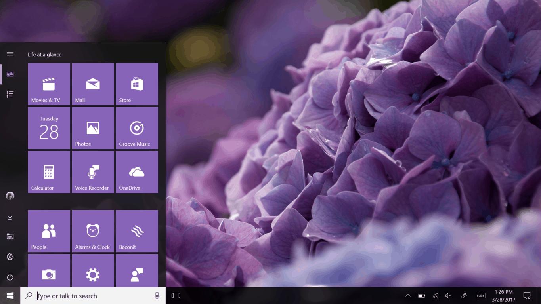 Windows 10 Creators Update Desktop and Start menu