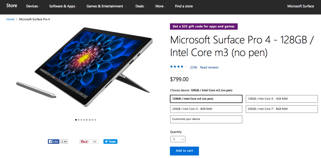 Surface Pro 4 US Microsoft Store without pen