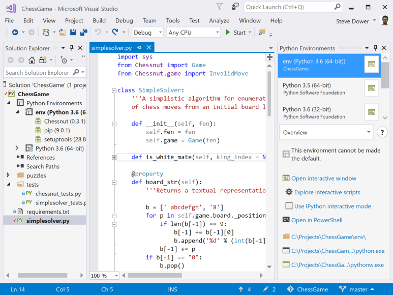 Visual Studio 2017 Preview Python support