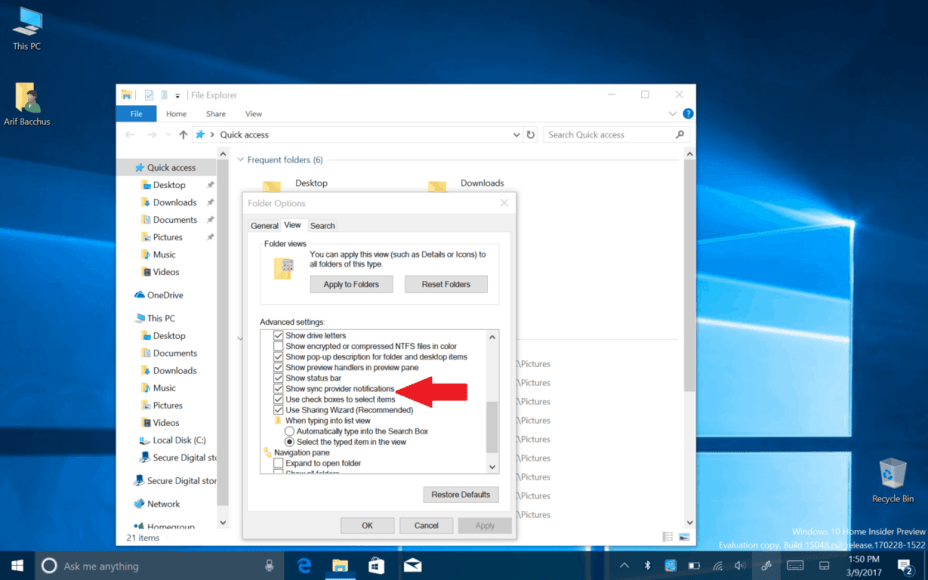 Windows 10 File Explorer sync provider notifications