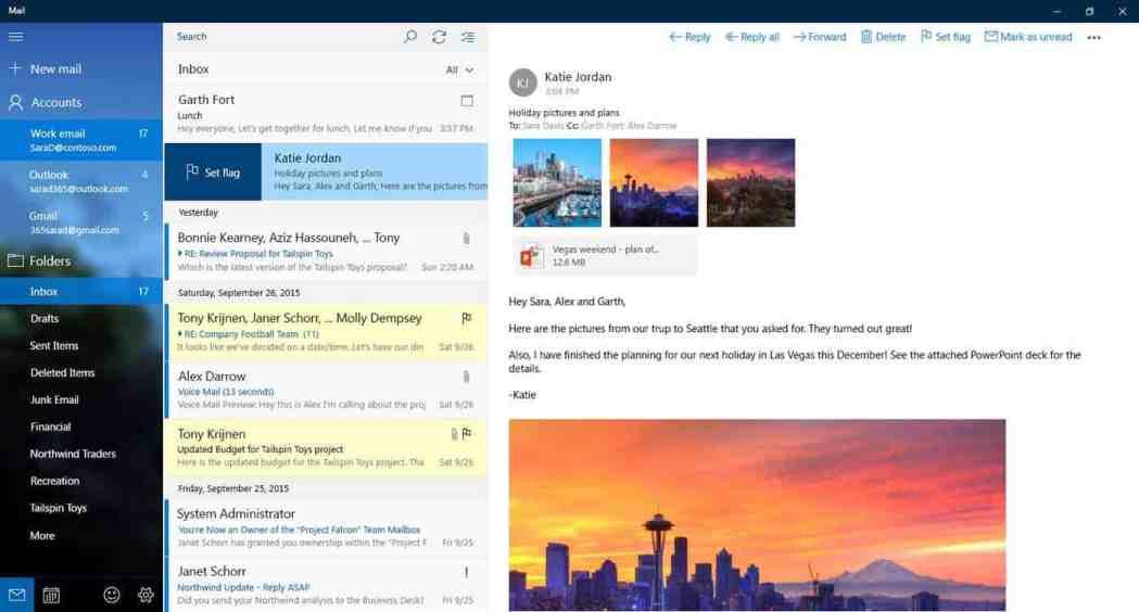 Windows 10, Calendar, Mail, Microsoft