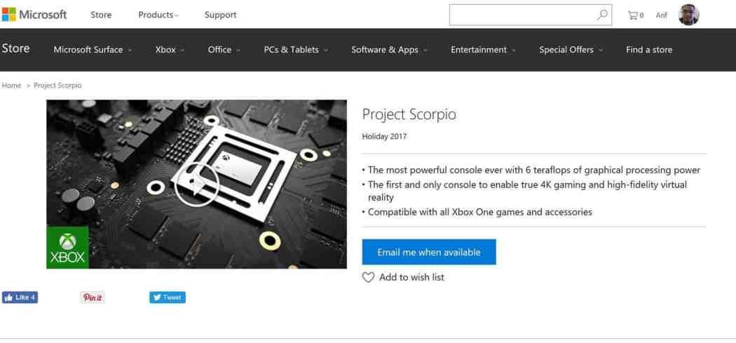 Project Scorpio Microsoft Store