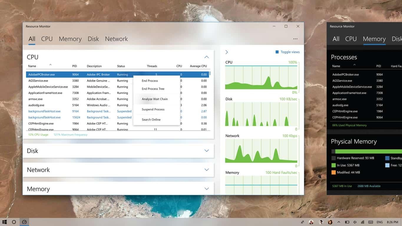 Resource Monitor using Windows 10's Fluent Design
