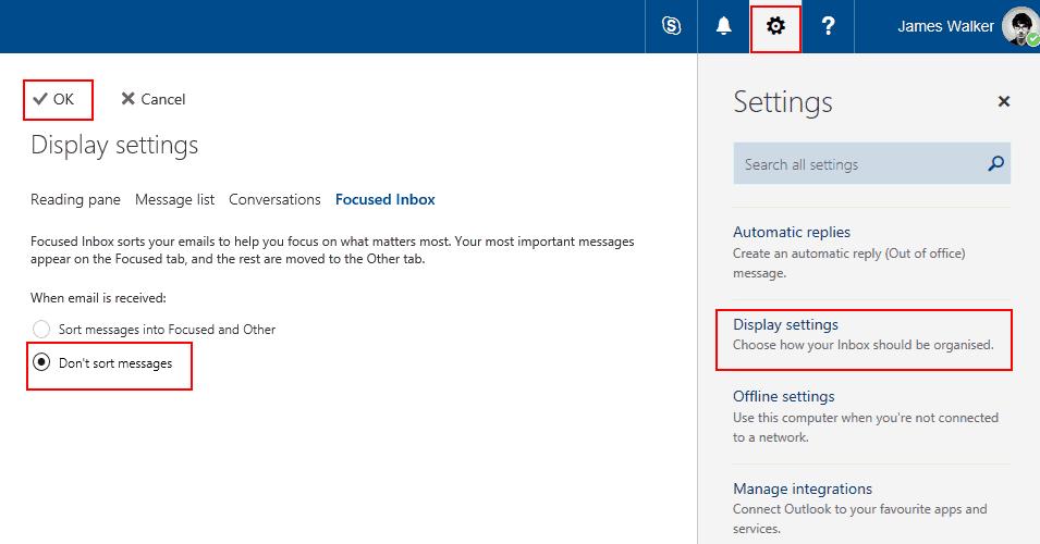 Screenshot showing Outlook Focused Inbox in the Outlook web app