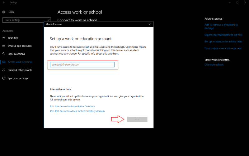 "Screenshot of Windows 10 ""set up a work account"" prompt"