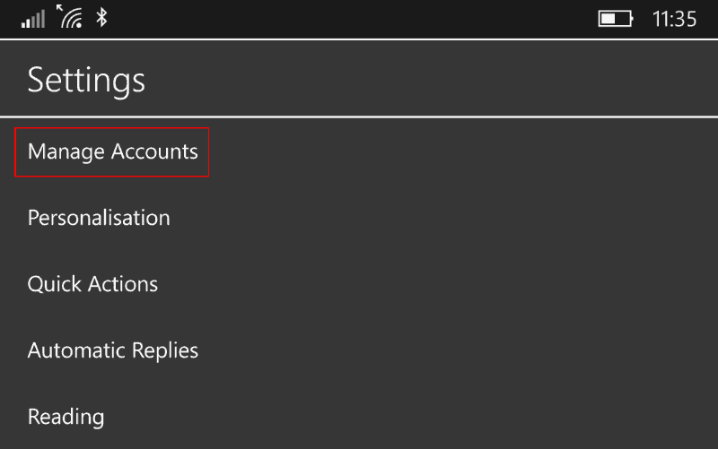 """Screenshot of """"Manage accounts"""" in option in Windows 10 Mail app"""
