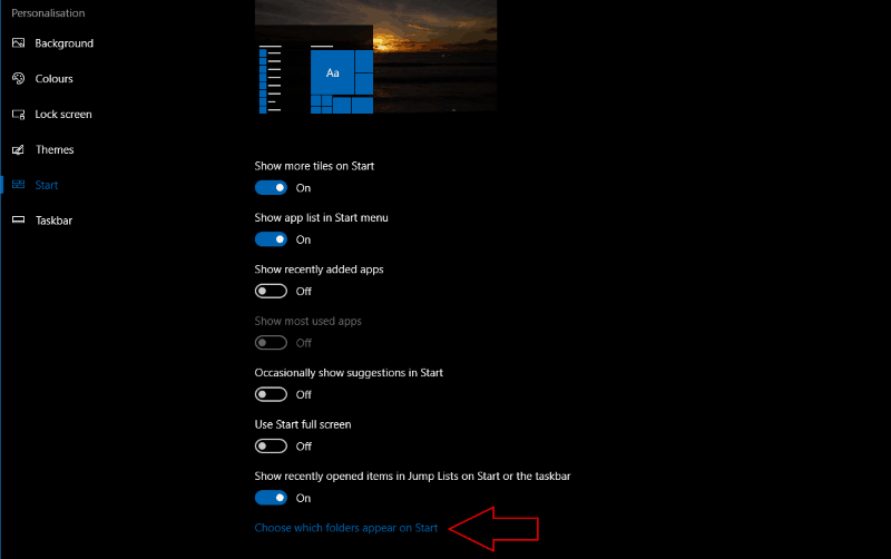 Screenshot of Windows 10 Start menu settings