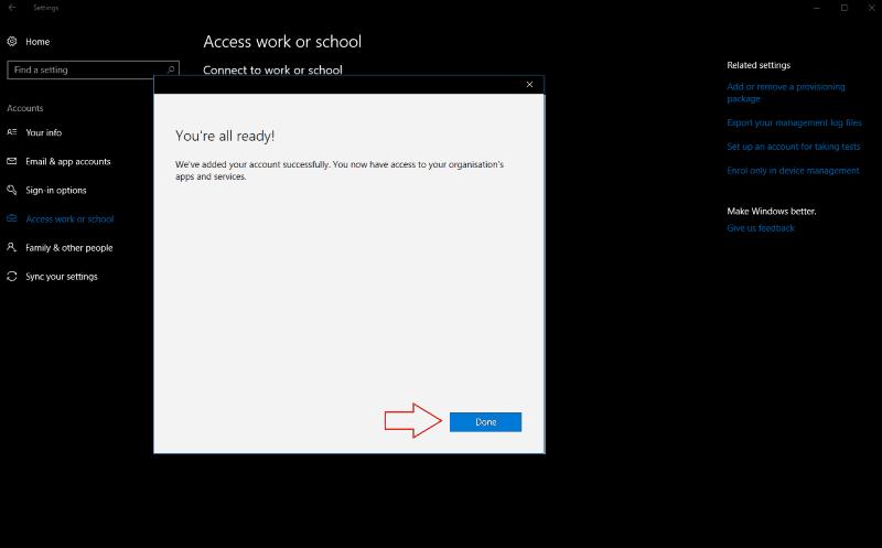 Screenshot of Windows 10 add account confirmation screen