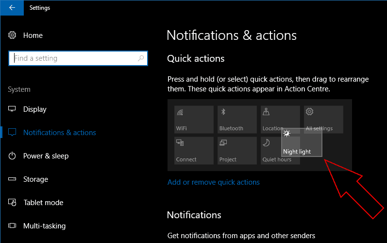 Screenshot showing rearranging Windows 10 Quick Actions
