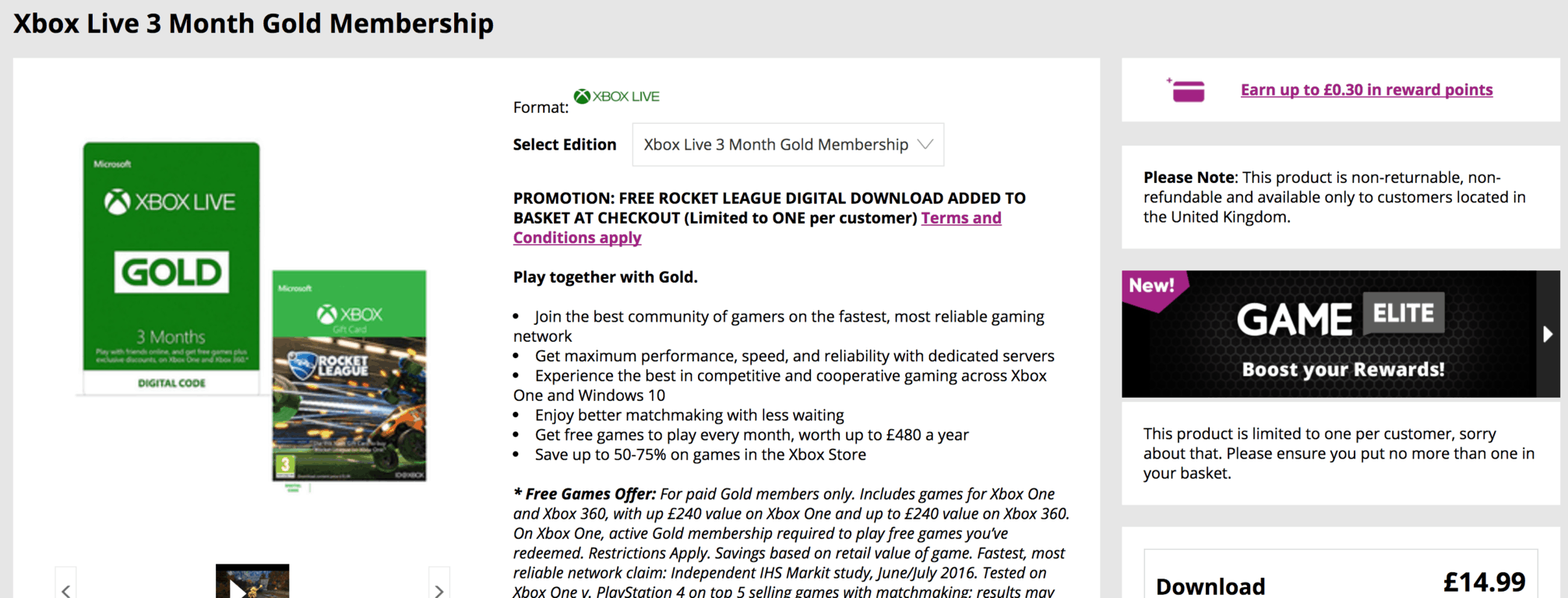 Xbox Live Gold 3 months, Rocket League free at GAME UK