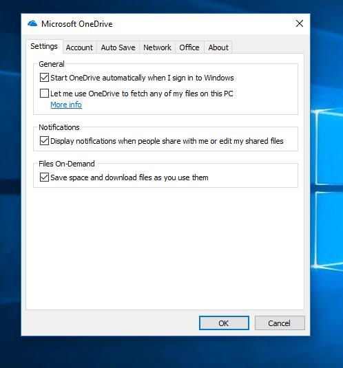 OneDrive Settings