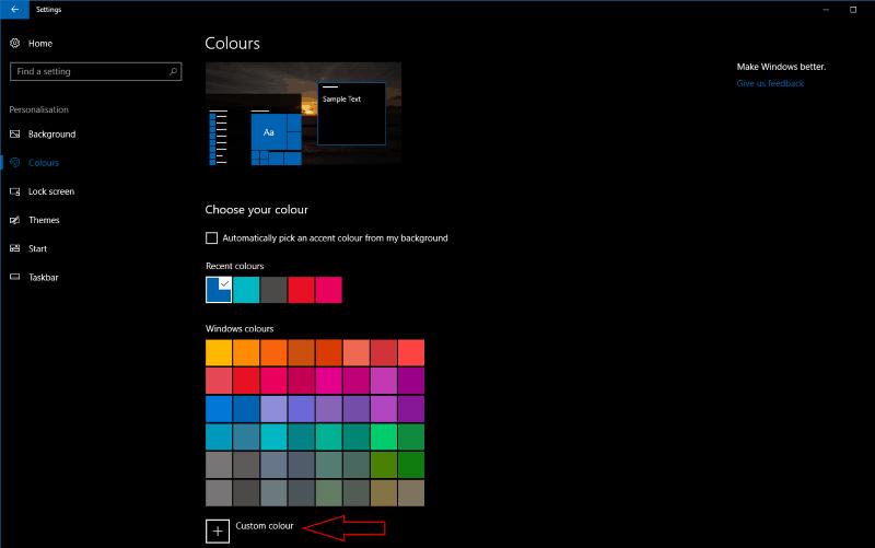 Screenshot of Windows 10 colour settings