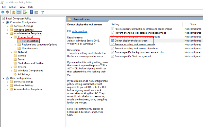 Screenshot of Windows 10 group policy setting disable lock screen