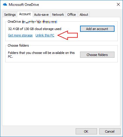 Screenshot of OneDrive's settings screen