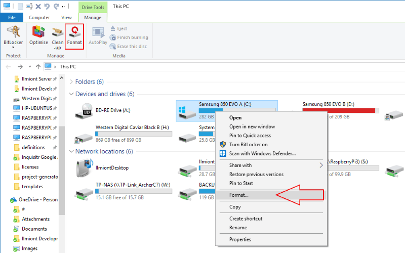 Screenshot of Windows 10 format option