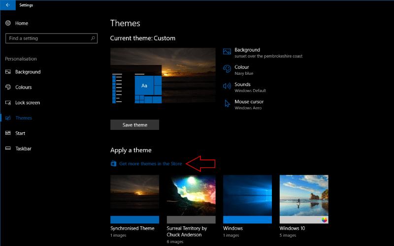 Screenshot of Windows 10 Theme settings page