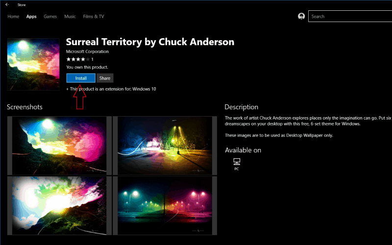 Screenshot of a theme in the Windows Store
