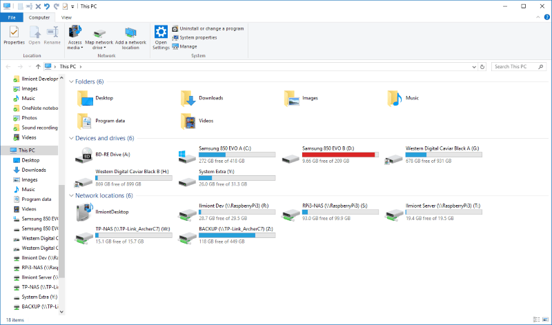 Screenshot of Windows 10 This PC