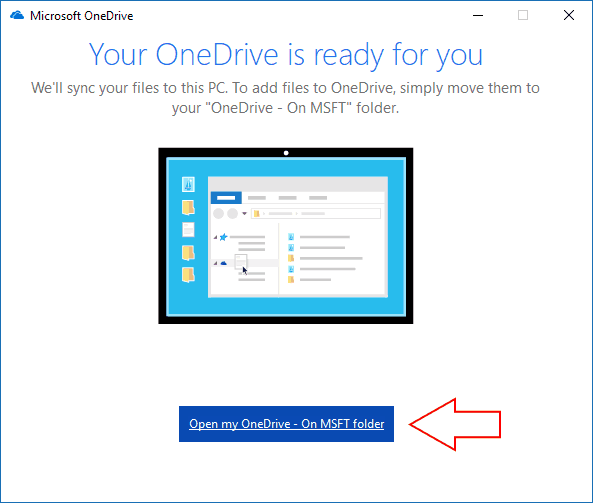 Screenshot of Windows 10 OneDrive sync confirmation screen