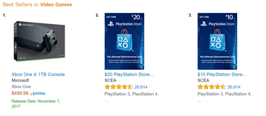 Microsoft's Xbox One X on Amazon.com