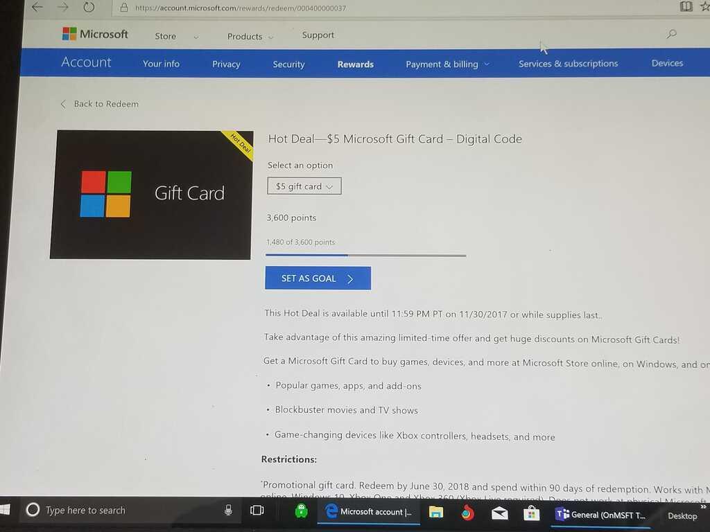 Microsoft, Microsoft Rewards, Xbox, Windows, gift card
