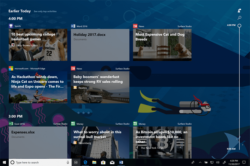 Windows 10 Insider build 17063 Timeline