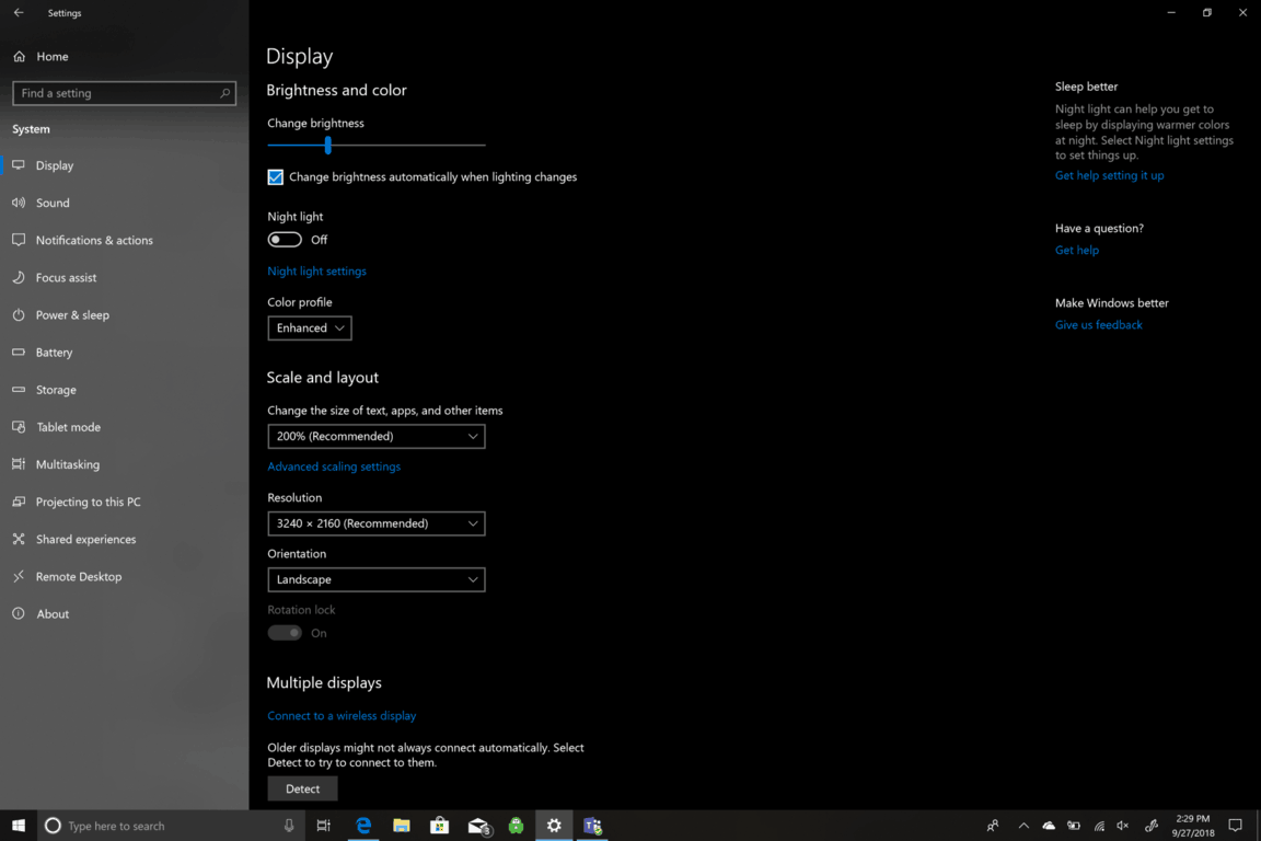 Microsoft, Windows 10, Settings, Screen Brightness