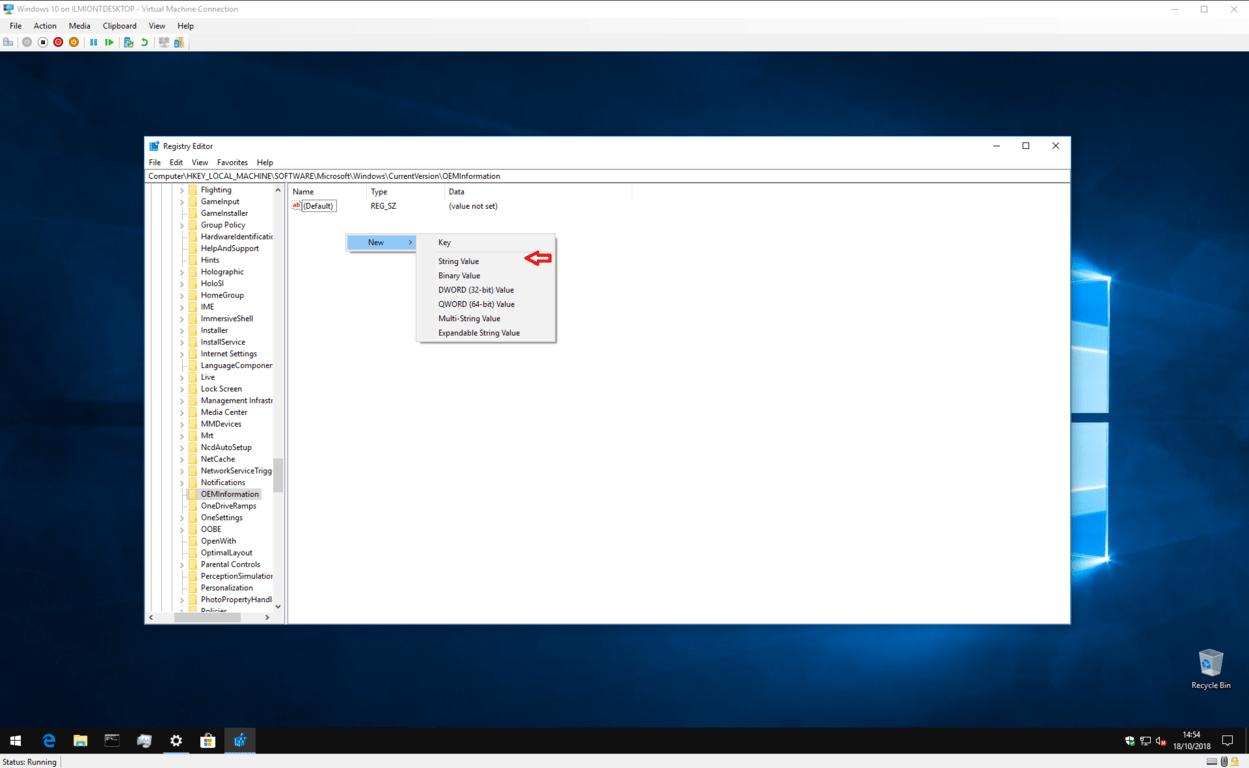 Screenshot of editing Windows 10 OEM information in the registry