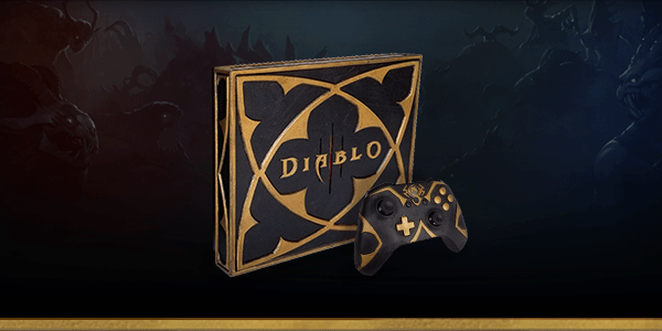 The Diablo edition Xbox One X and controller in black and gold colors.