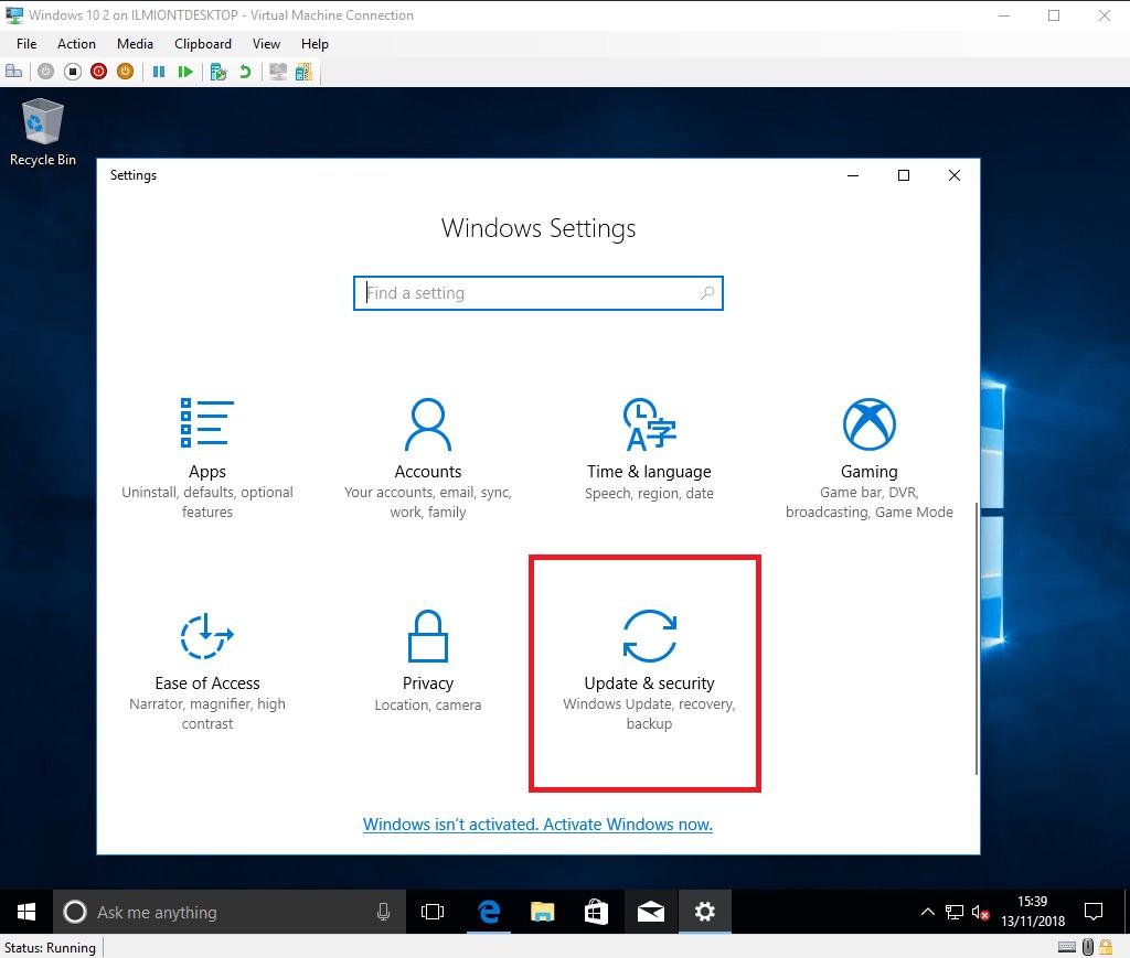 Screenshot of Windows 10 update settings