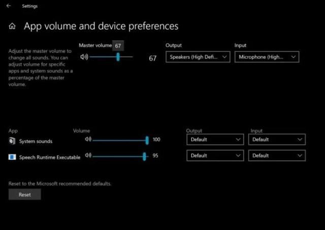 Windows 10 Volume Mixer
