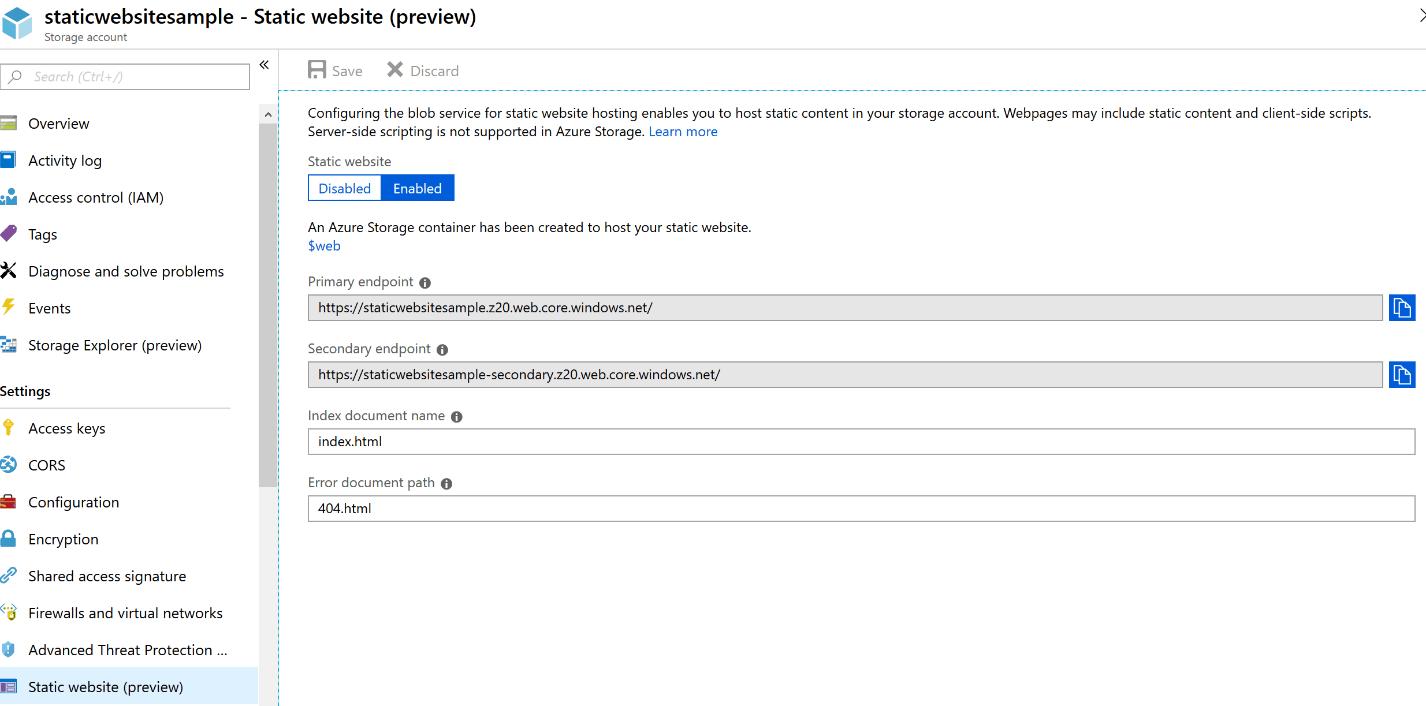 Azure Portal static website settings