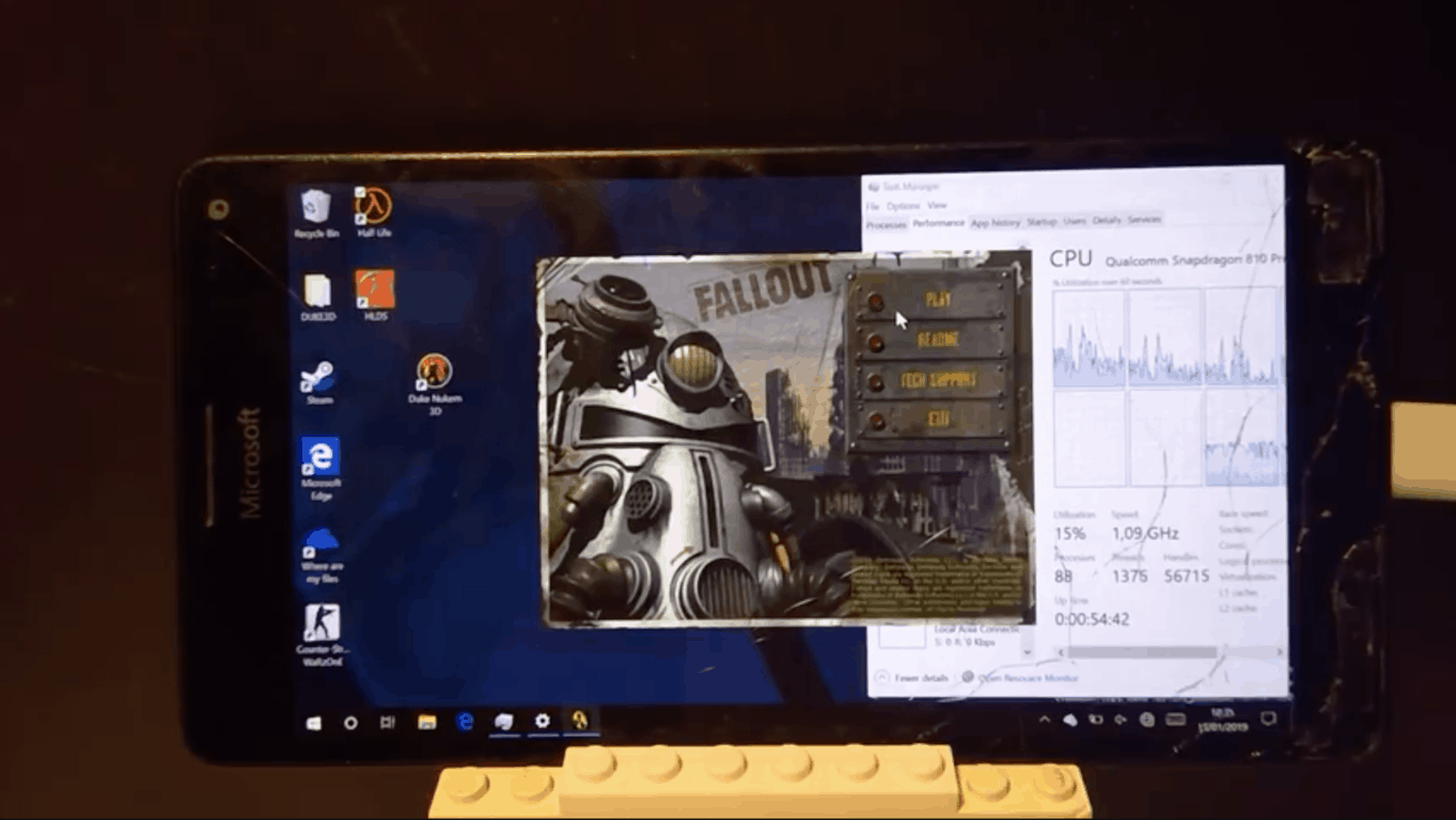 Hacker plays original Fallout PC game on Lumia 950XL running