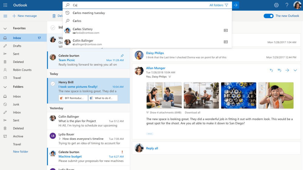 Outlook com to display dynamic emails with support for AMP