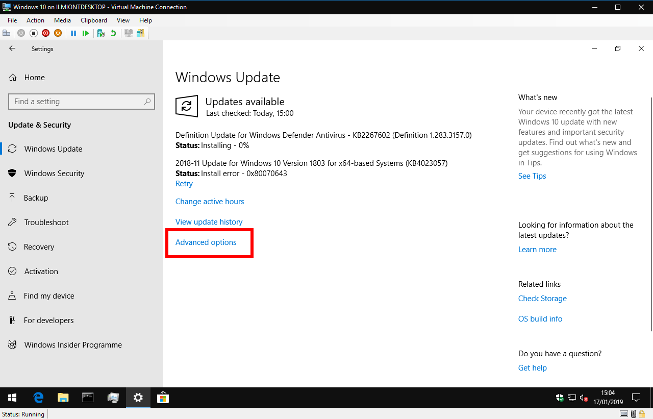 Pausing updates in Windows 10 1809