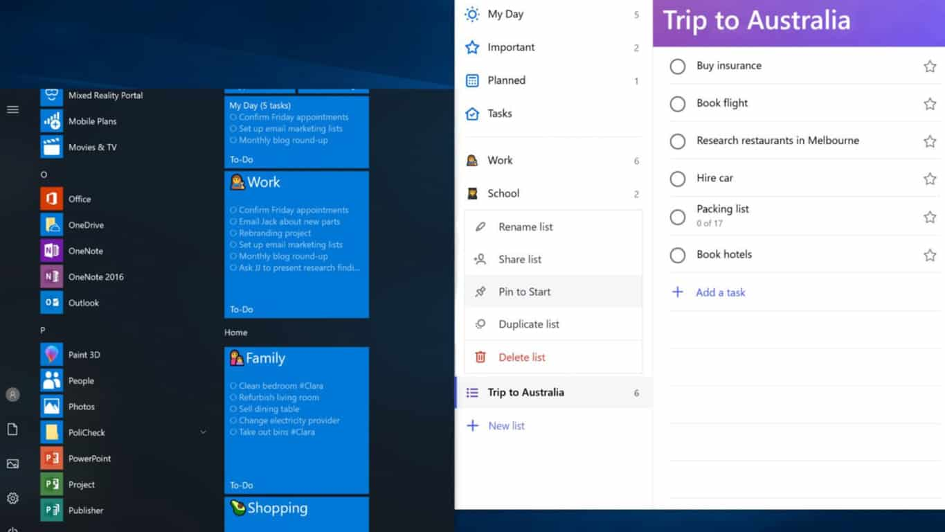 Microsoft To-Do app gains pinnable lists on Windows 10 Mobile and PC