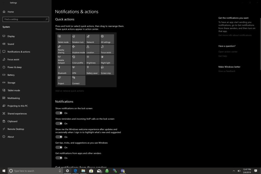 turn off all notifications windows 10